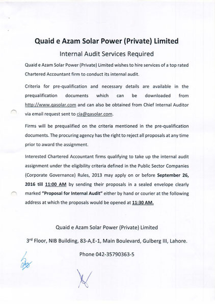 Tender for Internal Audit Services