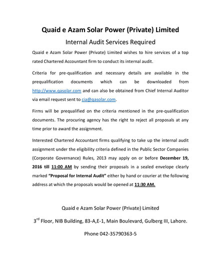 Tender for Internal Audit Service