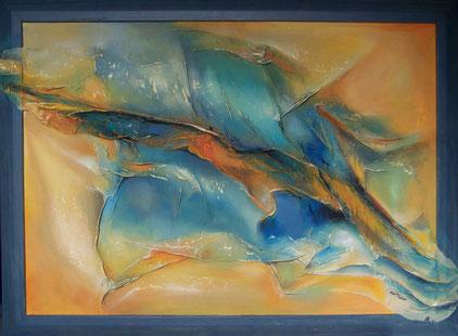 Seide auf Leinwand 57 x 77 cm