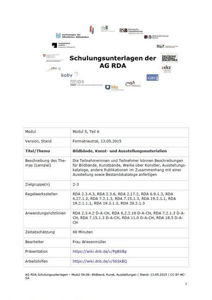 """Screenshot von der Textversion der Schulungsunterlage """"Bildbände, Kunst- und Ausstellungsmaterialien"""""""