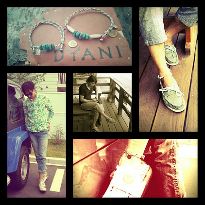 NO WAVE  NO LIFE  ・WAX CORD anklet   [ STYLE ] spring & summer  [ MODEL ] PRO SNOWBOARDER / 鬼頭 功 & DYANI Handmade jewelry / Tatsuro. H