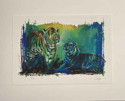 Zeichnung  einrahmen: Die 4 Zeichnungen sind erhöht auf einem Trägerkarton aufgelegt
