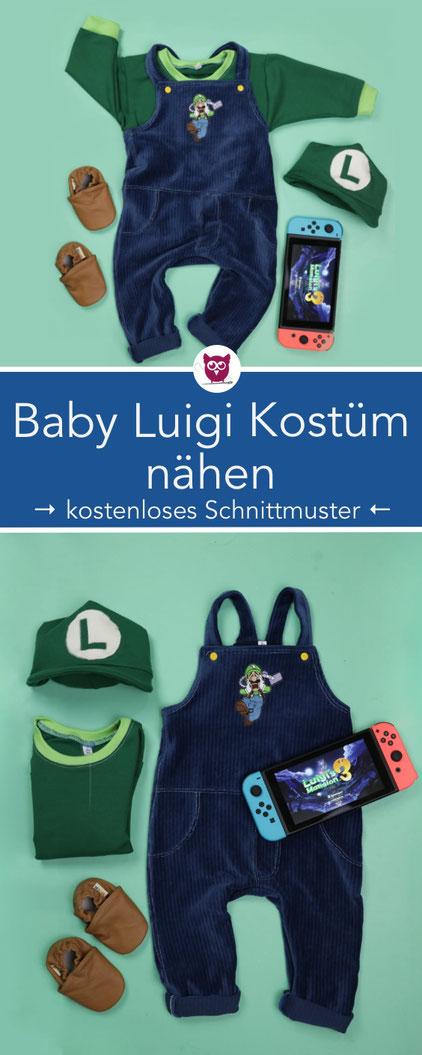 [Werbung] Baby-Luigi-Kostüm nähen inkl. kostenlosem Schnittmuster für die Luigi Mütze – angelehnt an Luigi's Mansion für die Nintendo Switch. Perfekt für Baby Fasching, Karneval oder Baby Halloween. Nähanleitung von DIY Eule. Auch als Mario möglich .