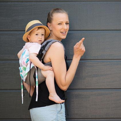 Huckepack Onbuhimo Babytrage mit gut gepolsterten Trägern, Schnallenonbu, Rückentrage ab Sitzalter