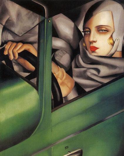 """T. de Lempicka, """"Autoritratto con Bugatti verde"""" (1929)"""