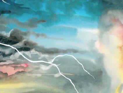 Des signes des les cieux, livre de l'Apocalypse. L'arche de l'alliance apparaît dans les cieux, symbole de la puissance de Yahvé.