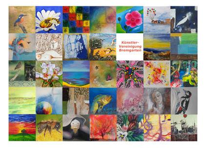 Postkarte mit Bildern von 34 Mitglieder, die sich  an einer Versteigerung zu Gunsten von Bird Life Zürich 2016 beteiligten.