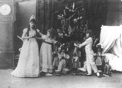 (Left to right) Lydia Rubtsova as Marianna, Stanislava Belinskaya as Clara and Vassily Stukolkin as Fritz, in the original production of The Nutcracker (Imperial Mariinsky Theatre, Saint Petersburg, 1892)