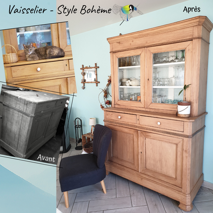 Vaisselier meuble déco, relooking déco, relooking meuble, recyclage, recycler, upcycling, renover meuble particulier, style bohème, bois, cire, décapage, bleu, peinture, collage,sciez, thonon, leman, chablais