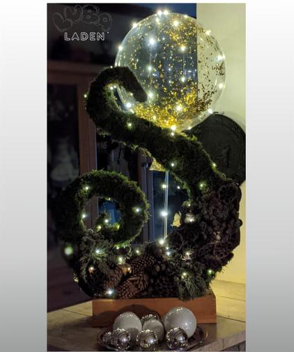 Goldglitzerballon mit  Led Lichterkette