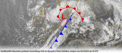 Abb. 1 | Lage des Orkans Christian am 28.10.2013 um 12 UTC. Die Grafik zeigt, dass es sich hier um kein gewöhnliches Tiefdruckgebiet handelt. Christian war eine Shapiro-Keyser-Zyklone. | Quelle Satellitenbild: Eumetrain | Grafische Bearbeitung: WDS