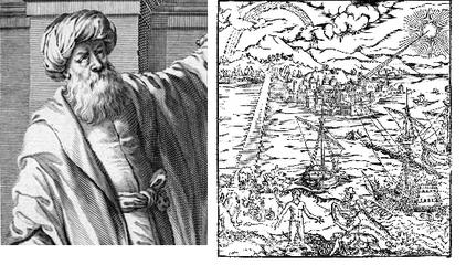"""Ибн аль Хайсам (Альхазем) и обложка его """"книги оптики"""""""