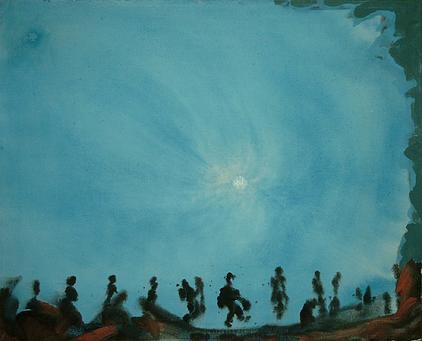 Blau mit Lustig - Acryl auf Leinwand, 1999 (70x85)