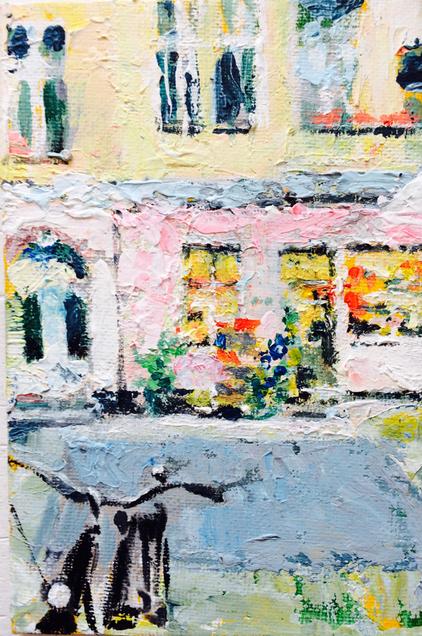 """Leonhardtstraße 21 . Blick auf den """"Kleine Fische"""" Laden . Sommer . 10 x 15  cm . Acryl auf Malplatte"""