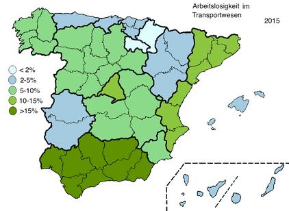 Arbeitslosigkeit Transportwesen Spanien 2015