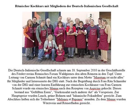 Römischer Kochkurs mit der Deutsch-Italienischen Gesellschaft Mittelhessen e. V.