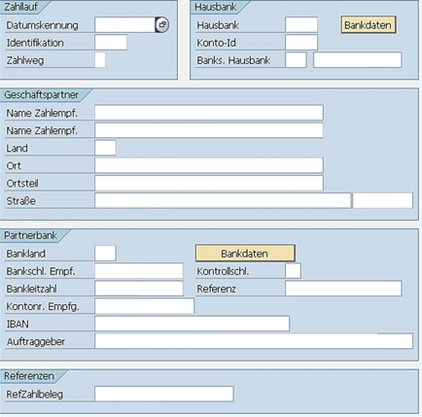 SEPA SAP FS-CD Maske Zahlungsausgang