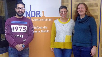 Nino Novakovic, Martina Gilica (Moderatorin) und Hanna A. Bludau (Koordination Migration und Teilhabe des Landkreises Northeim)