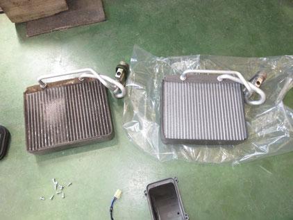 日産 キャラバン E25 エアコン修理 エバガス漏れ