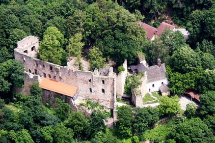 Burg Hilgartsberg Luftaufnahme. Foto: Burgförderverein Hilgartsberg