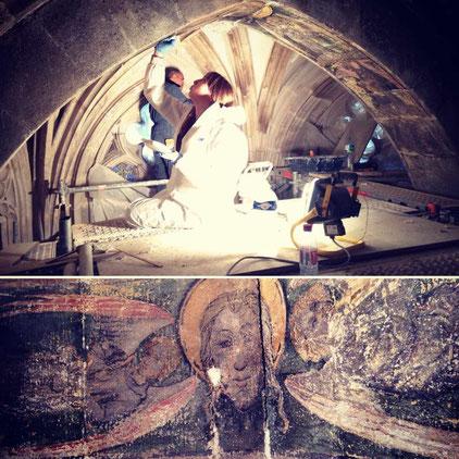 Restauration murales du 15eme siecle - Atelier Mathilde Billard