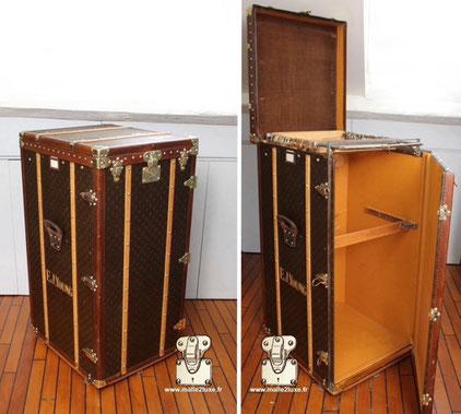 Malle wardrobe Louis Vuitton - Monogramme Serie : 1er Extérieur : Monogram LV Mark 5 Coins : laiton Intérieur : Penderie