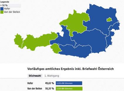 Politische Wahlkarte Österreichs nach Bundespräsidenten-Wahl