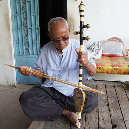 Late Master Sok Dutch playing tro Khmer.