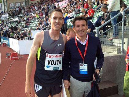 IAAF-Präsident Sebastian Coe an der Seite von Andreas Vojta beim Meeting in Oslo (Foto: O. Brockmann)