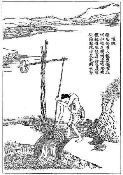 Culture du riz, d'après un dessin chinois (extrait du Keng-tche-lou). Irrigation des champs de riz après le repiquage.