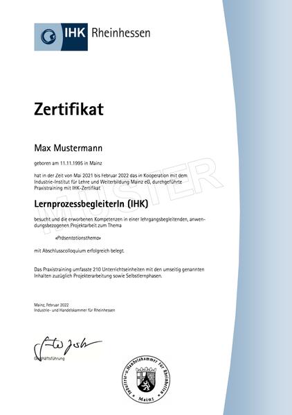 Muster IHK-Zertifikat Lernprozessbegleiter