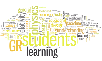 Word cloud in yellow and grey: physics students learn relativity