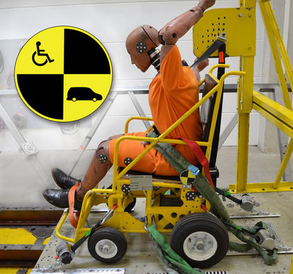 Dynamic crash test with wheelchair, Protektor restraint system and dummy according to RESNA WC18 standard