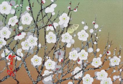「白梅の香り」 紙本岩彩 SM 47,250円