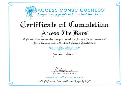 Acces Bars, Access Conciousness, Certificate, Zertifikat, Practioner