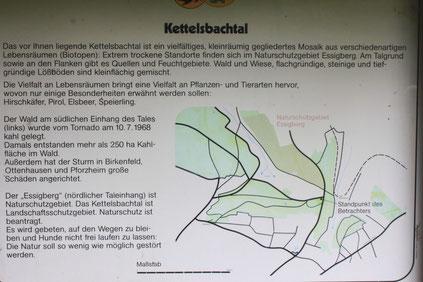 Tafel am oberen Ende des Kettelsbachtales - gegenüber befindet sich das Naturschutzgebiet Essigberg (G. Franke, 20.09.15)