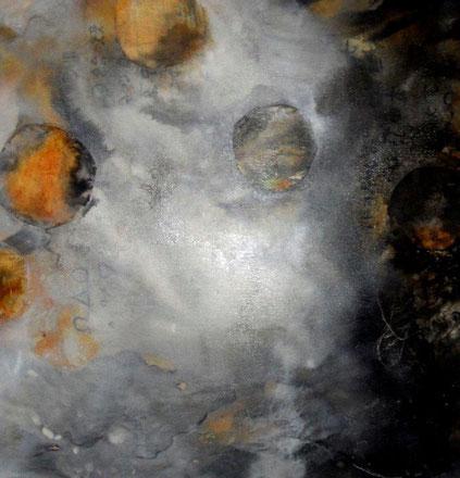 Versteckte Botschaften 4 / Mischtechnik auf Leinwand / 50 x 50 cm
