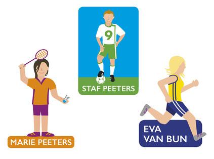 Van Bun Communicatie en Vormgeving - Gepersonaliseerde illustraties sporters - Stickers Sleutelhangers