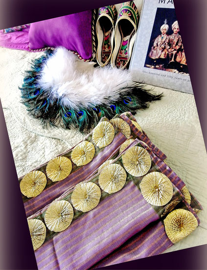 Lavender, Indian-handloom cotton & mulberry-silk throw with decorative jari border