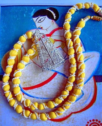 Pinjara: canary-yellow, cottonsilk-and-ivory-pearl-necklace with silver-filigree pendant