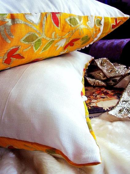 Bright orange, Indian, handloom, tissue/cotton, sari, cushion cover, handpainted with vibrant flower motifs, & gold border