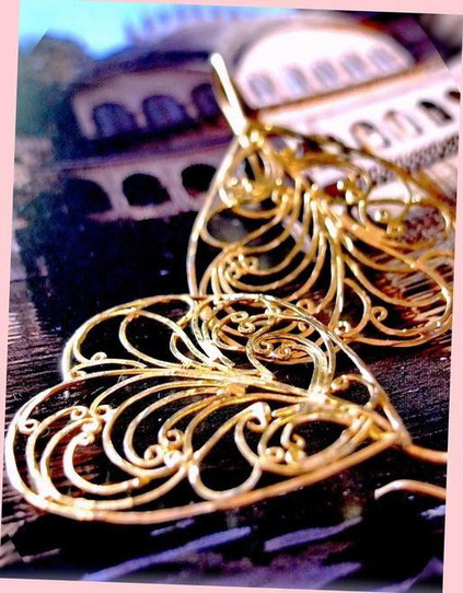 Dhupa earrings: 24kt, gold-dipped, sterling-silver, flat-wire-framed, ornate, filigree swirls, inverted, heart shape