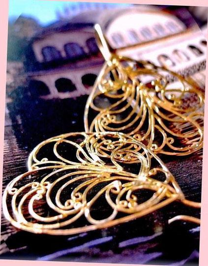Dhupa earrings: 24kt, gold-dipped, sterling-silver, flat-wire-framed, ornate, filigree swirls, inverted, heart shape