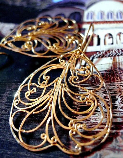 Dhupa earrings: 24kt, gold-dipped, sterling-silver, flat-wire-framed, ornate filigree; close-up