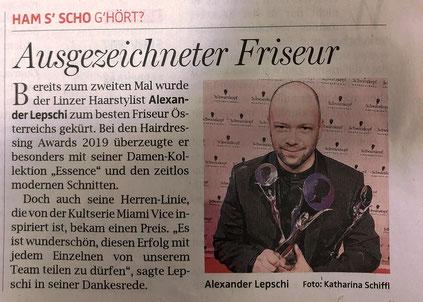 Bericht von OÖNachrichten (Mai 2019) - Alexander Lepschi ist Hairdresser of the Year 2019