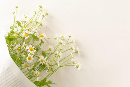 包装紙にラッピングされた白い花たち。