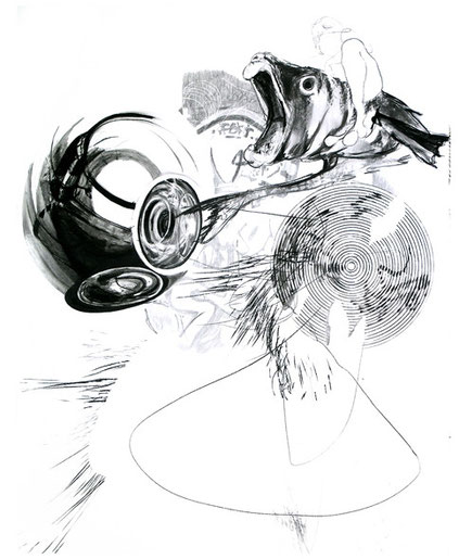 Untitled-            -graphite, pen, carbon on paper-     -2009-2010-     -190x150cm