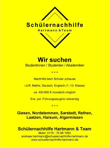 Anzeige Nachhilfe: Wir suchen Studierende für Landkreis Hildesheim