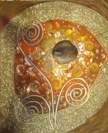 Seelenbild 50x60cm , Acryl , Achatscheibe + Kristalle