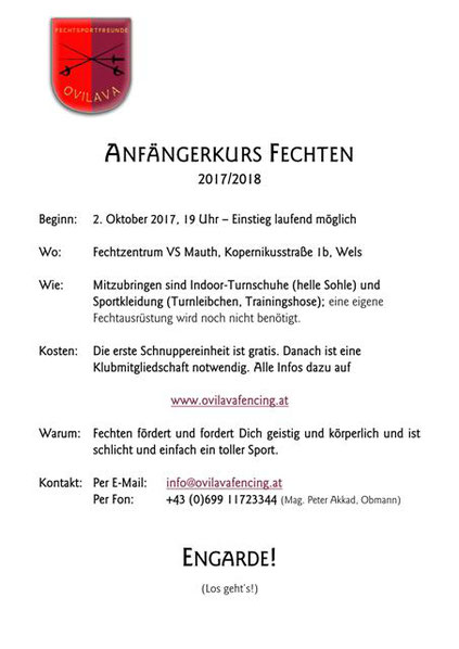 Anfängerkurs Fechten 2017/2018. Fechtbeginner herzlichen willkommen!